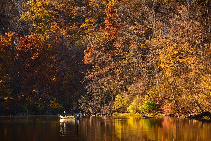 Photo: Fall fishing at Middlefork Reservoir in a john boat.