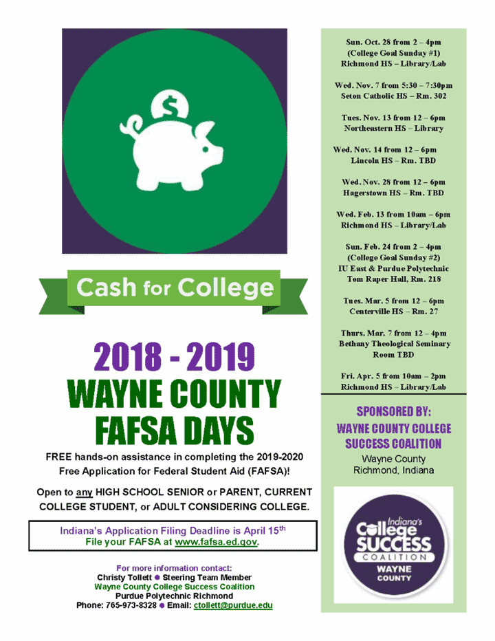 Supplied Flyer: Wayne County FAFSA Days