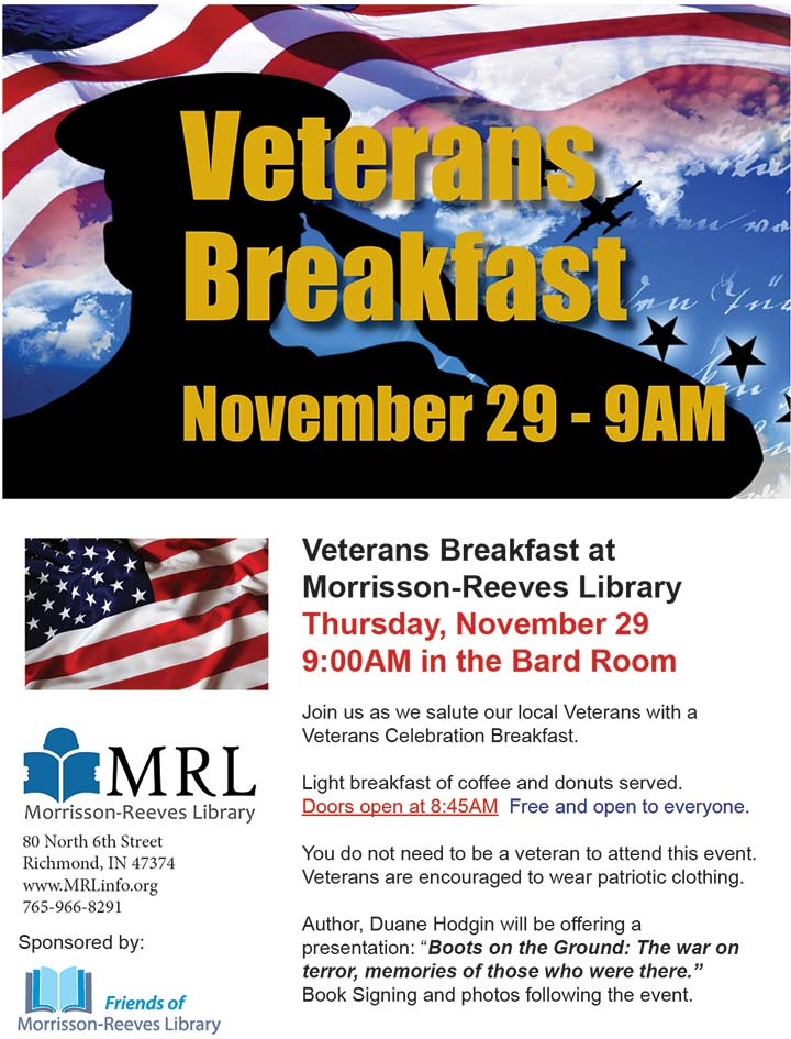 Supplied Flyer: MRL Veterans Breakfast