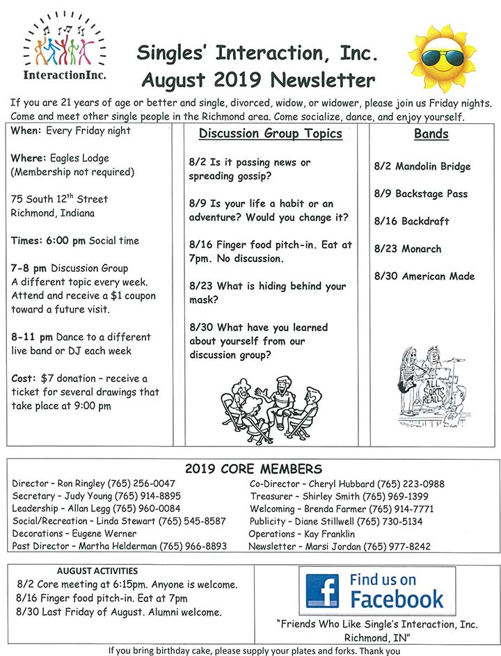 Supplied Flyer: August 2019 Singles Interaction Newsletter