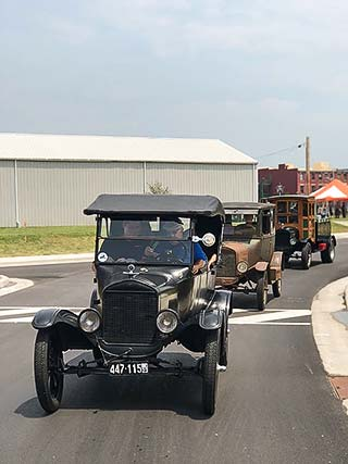 Supplied Photo: Model T's Driving on the newly paved 9th Street