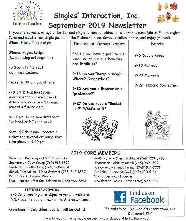 Supplied Flyer: September 2019 Singles Interaction Newsletter