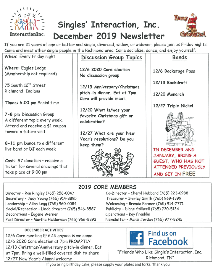 Flyer: Decembwer 2019 Singles Interaction Newsletter