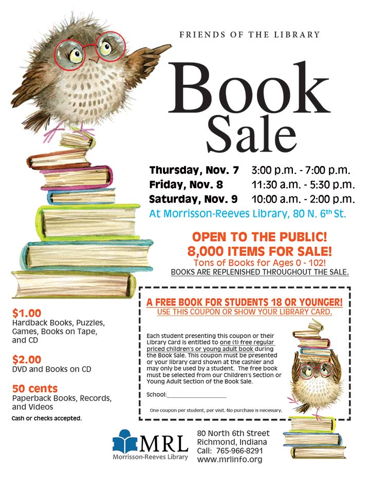 Supplied Flyer: MRL 2019 Fall Book Sale