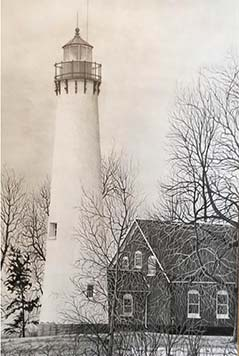 "Drawing: Graphite on Paper: ""Tawas Point Lighthouse"" by Don Pressley"