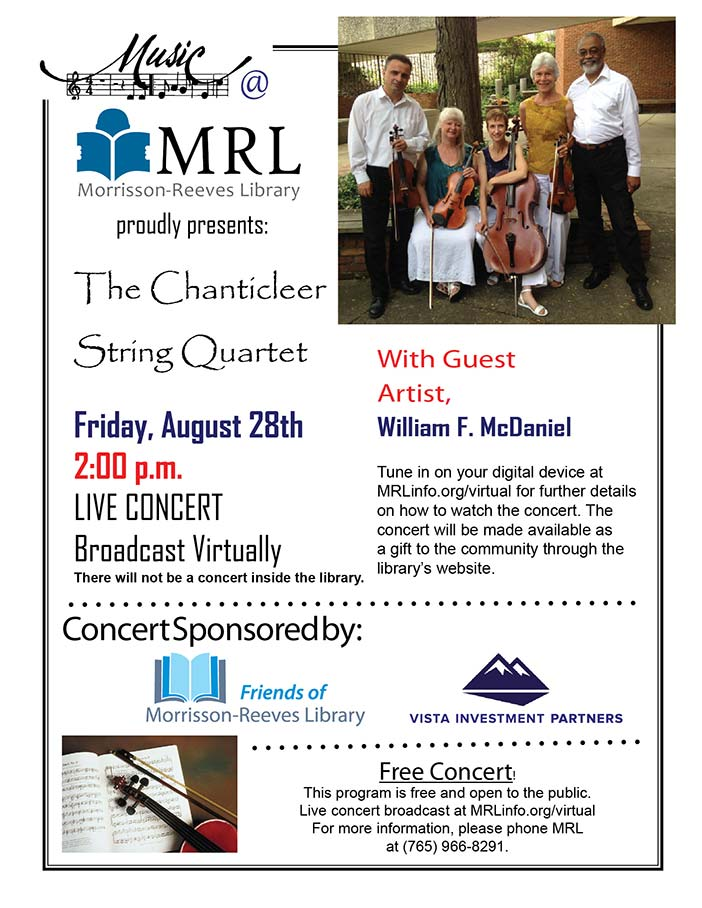 Supplied Flyer:  The Chanticleer Quartet at MRL