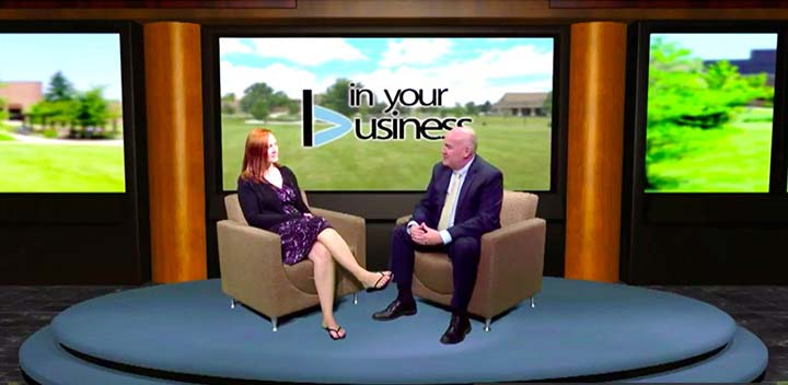 Supplied Photo: Tim Scales, director of the Center for Entrepreneurship and the Center for Economic Education and senior lecturer, interviews a guest on In Your Business Television. The show is a finalist for UEDA's Talent & Place category.