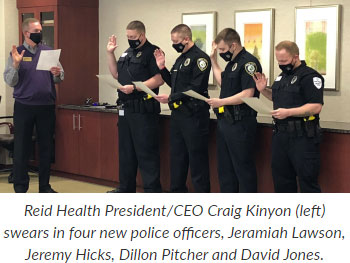 Supplied Photo: Police Officers being sworn in at Reid Health