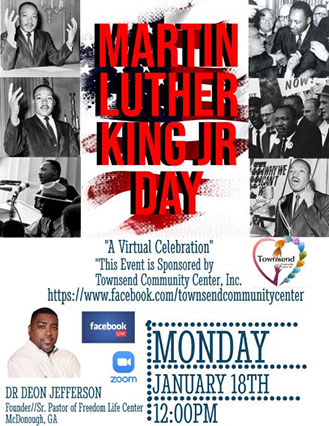 Supplied Flyer:  2021 Martin Luther King Jr. Day Celebration