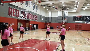 Supplied Photo: Freshman guard Caitlin McEldowney shoots a free throw. The women's basketball team raised over $1,600 with its inaugural Free Throw-athon on February 26 at Lingle Court.  McEldowney,  of Versailles, Ohio, made 95 of 100 free throws.