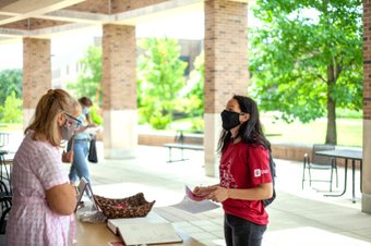 Supplied Photo: Students wearing masks at Springwood Hall, IU East.